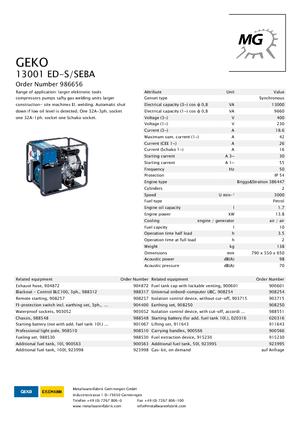 Générateurs électrogènes 3000 moteur à essence Geko ® 13001 ED-S/SEBA